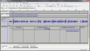Showing Audacity's Labels track, spanning sections of audio, with values filled in