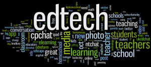 A graphic representation of the words culled from edchat on Twitter, larger or smaller by frequency