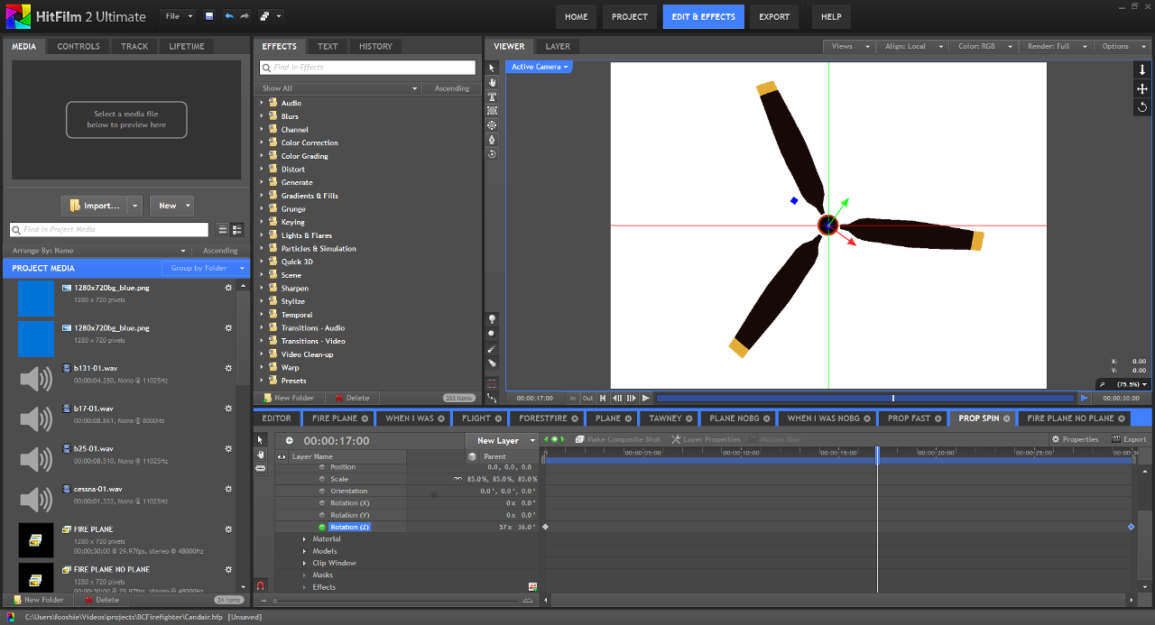 Screenshot, animating Z-axis rotation is easy.