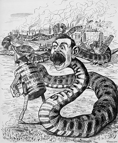 Cartoon from 1940s, snake labelled Standard Oil and and Oil can, destruction and pollution pictured in background.