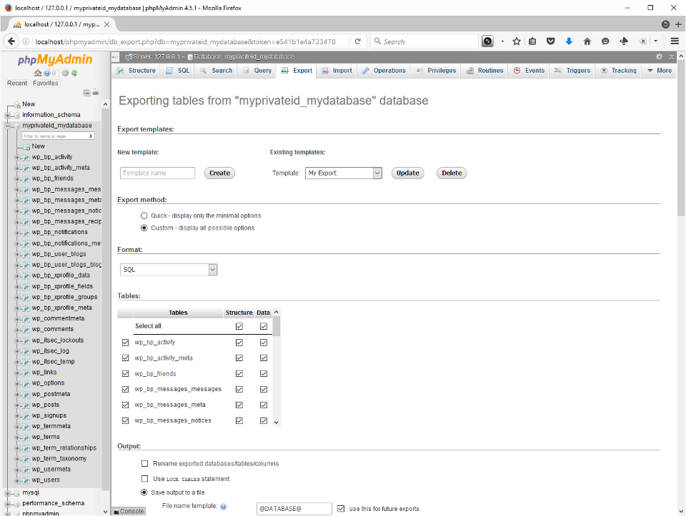 The screenshot shows the Export tab after it was pressed with our database selected.