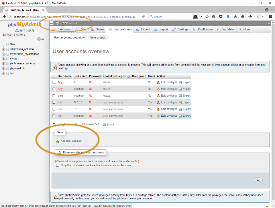 Screenshot showing user creation screen in PHPMyAdmin.