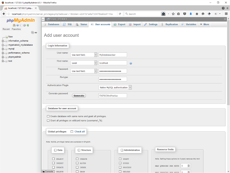 Screenshot showing user login setup in PHPMyAdmin.