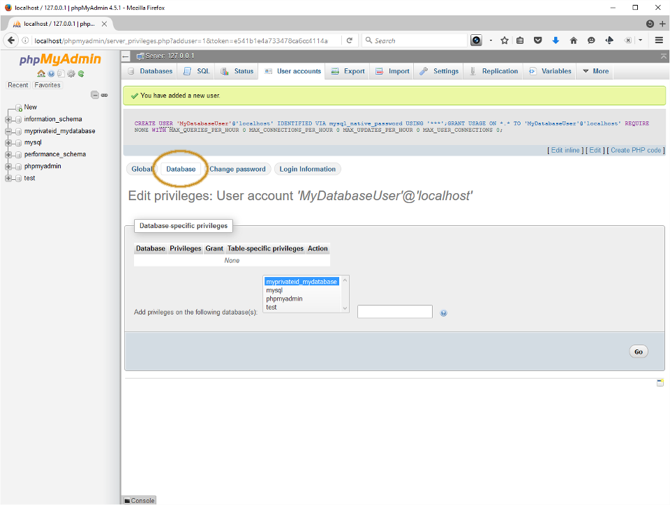 Screenshot showing user added and new database selected under Database-specific privileges in PHPMyAdmin.