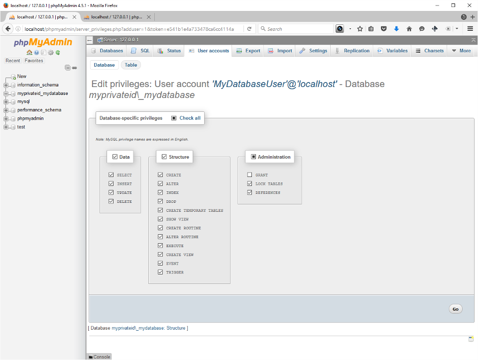 Screenshot showing user granted all privileges except 'Grant' in PHPMyAdmin.