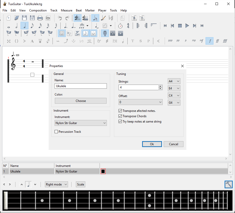 Screenshot, Tux Guitar app set a ukulele.