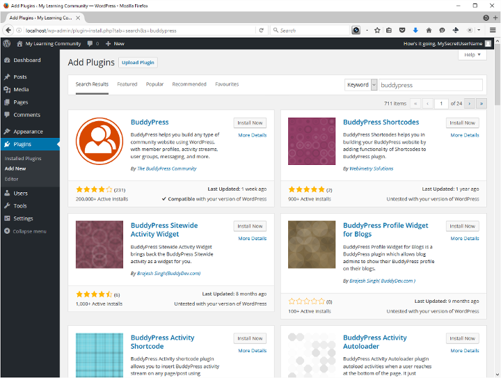 Screenshot of WordPress plugin search results for BuddyPress.