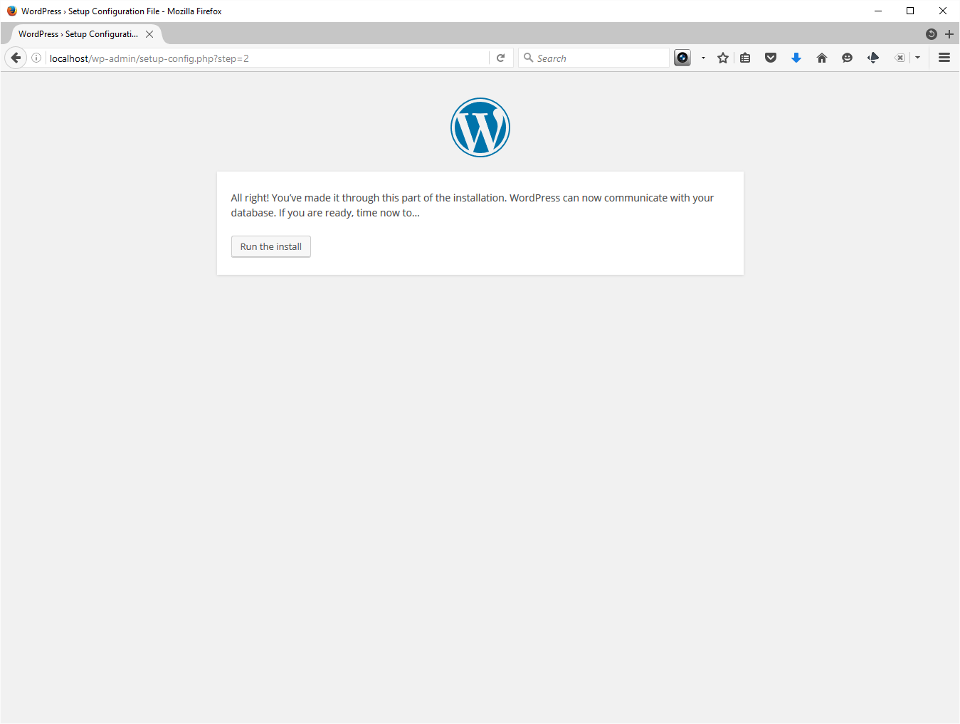 The screenshot shows everything's almost ready.