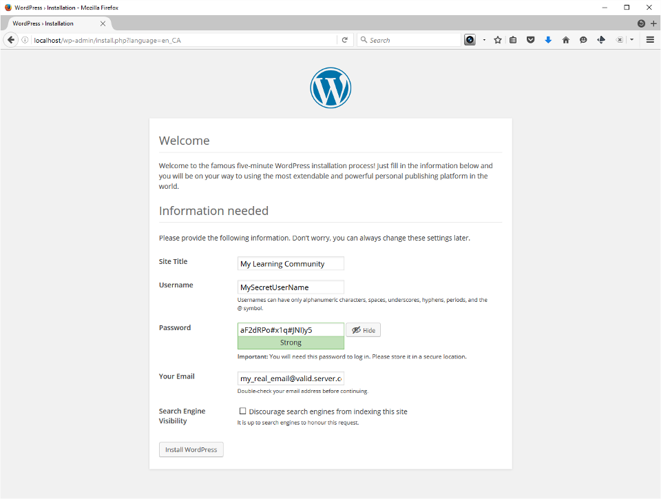The screenshot shows the language selection screen.