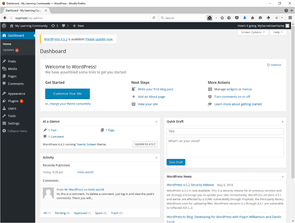 The screenshot shows a freshly launched WordPress site with updates flagged.