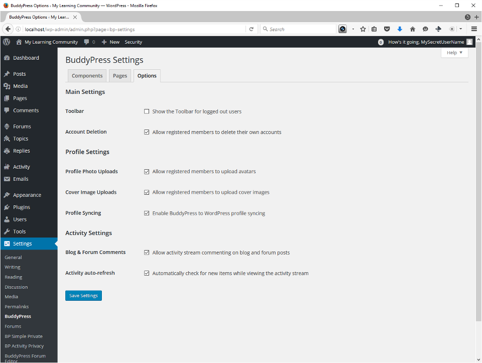 Screenshot showing BuddyPress Options setup. I turn on everything except Show the Toolbar for logged out users.