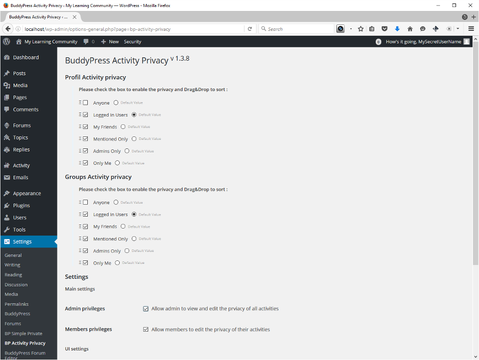 Screenshot showing BuddyPress Activity Privacy. I disable Anyone and set the default to Logged in users.