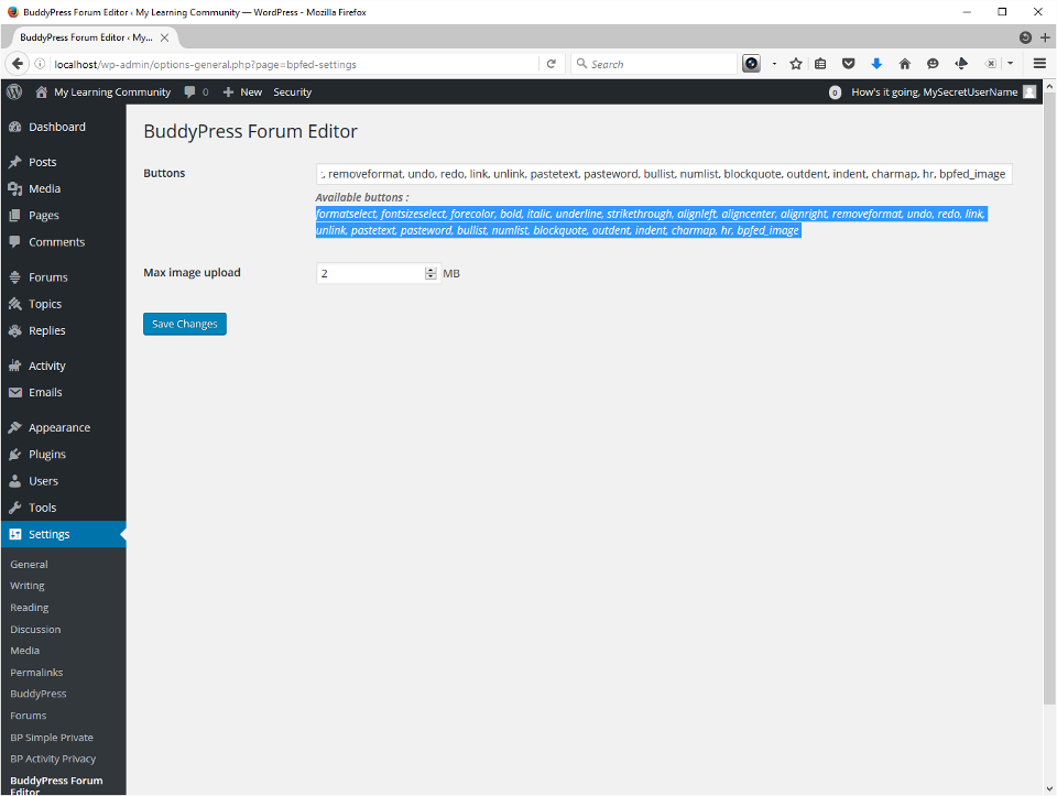 Screenshot showing BuddyPress Forum Editor that enhances the forums WYSIWYG editor. I copy paste the entire list of options into the field and press Save.
