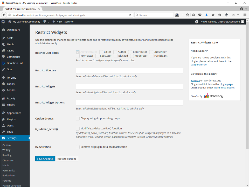 Screenshot showing Restrict Widgets default settings. I left all the defaults unchanged.