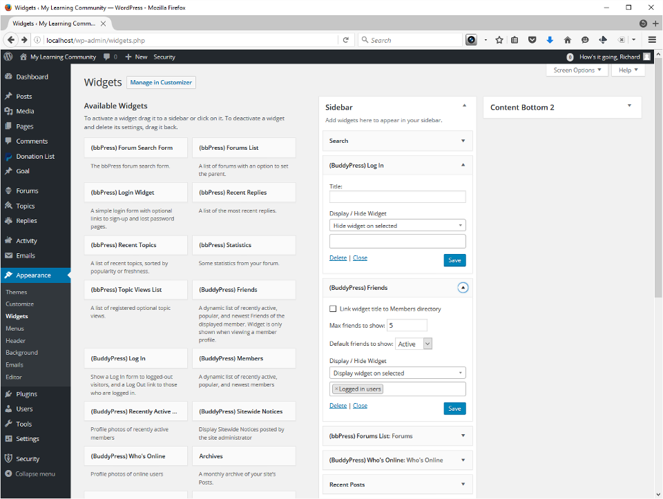 The screenshots show the process for placing a widget in the sidebar.