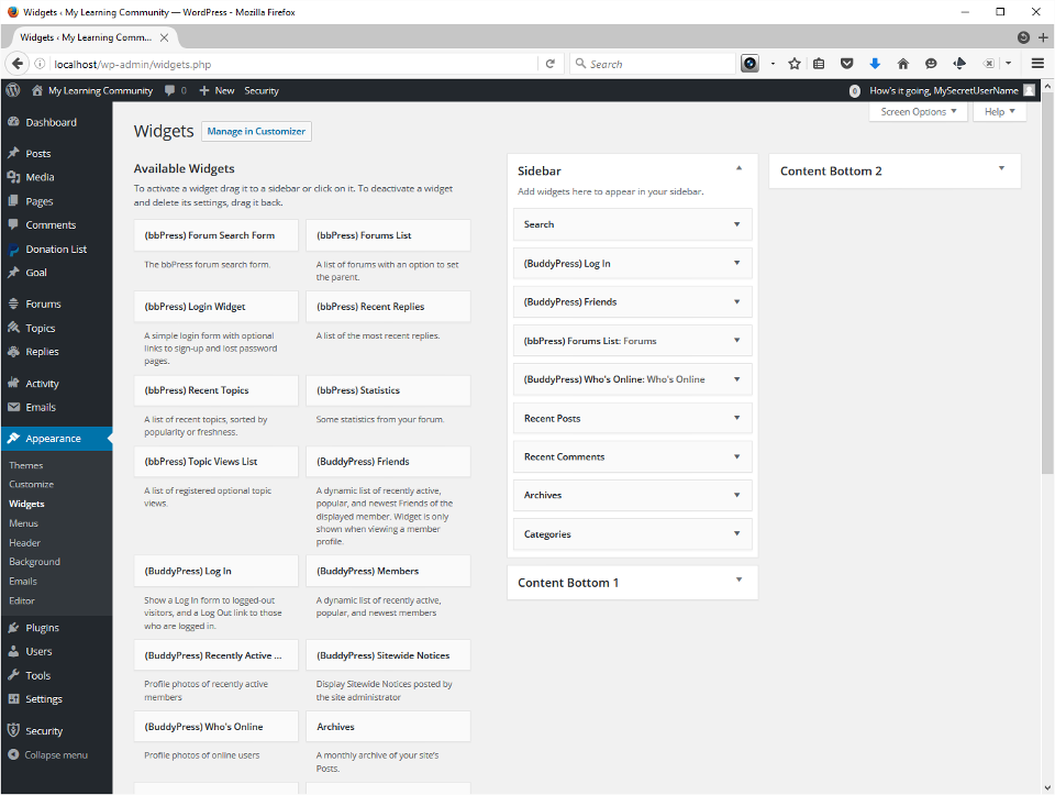 The screenshots show the completed widget page.